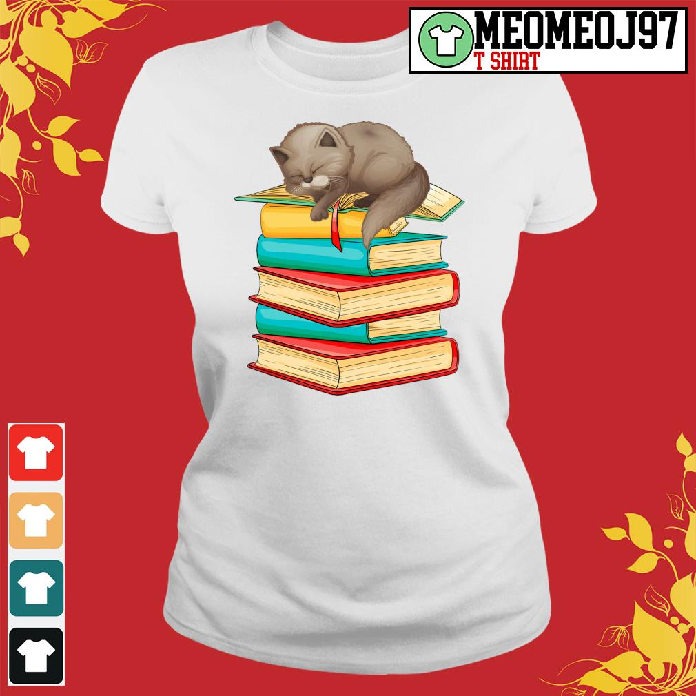 Cats sleep with books s Ladies-tee