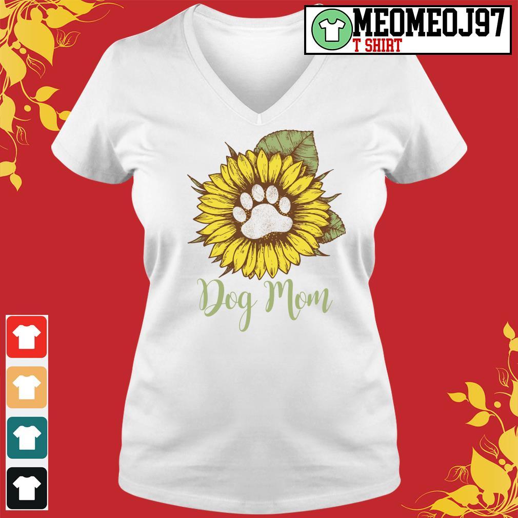 Sunflower paw dog mom s V-neck-t-shirt