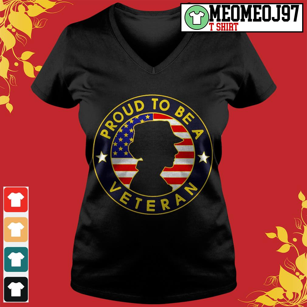 Proud to be a Veteran women's America V-neck t-shirt